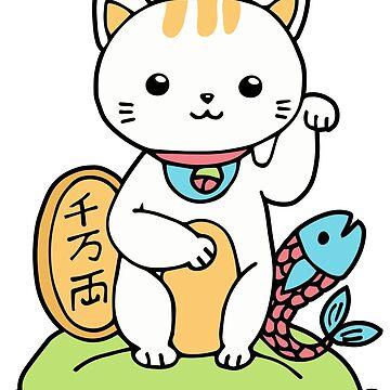 Maneki Neko Kawaii - Japanese Lucky Beckoning White Cat by DoodleJourney