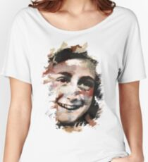 Paint-Stroked Portrait of Anne Frank Women's Relaxed Fit T-Shirt