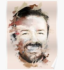 Paint-Stroked Portrait of Actor and Comedian, Ricky Gervais Poster