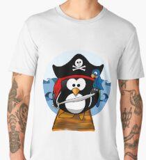Pirate Penguin at Sea Men's Premium T-Shirt