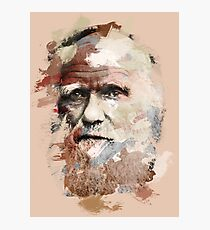 Paint-Stroked Portrait of Scientist and Evolutionary Biologist, Charles Darwin Photographic Print