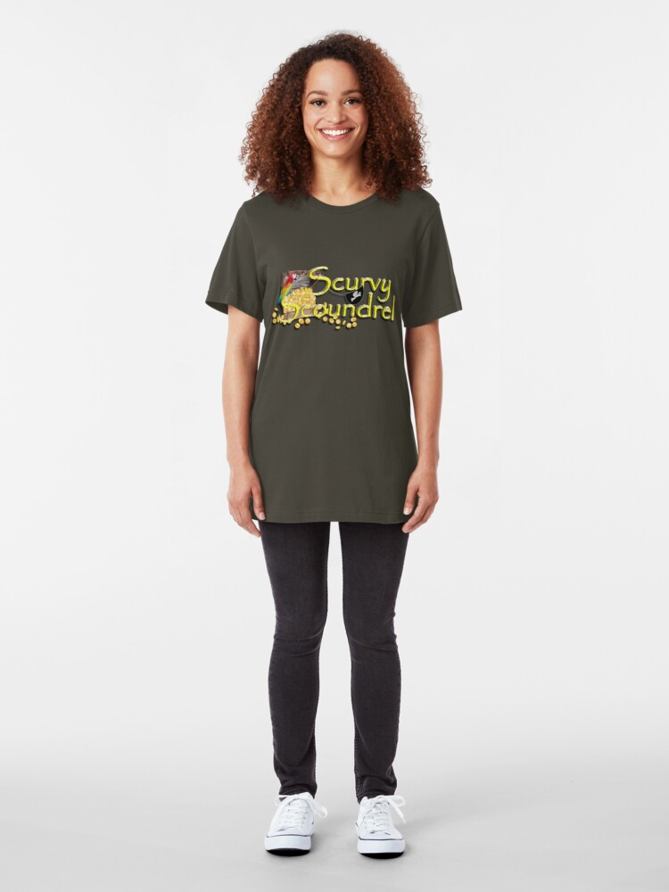 Alternate view of Pirate Talk Text -  Scurvy Scoundrel Slim Fit T-Shirt