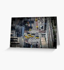 New York City Taxis From Above Greeting Card