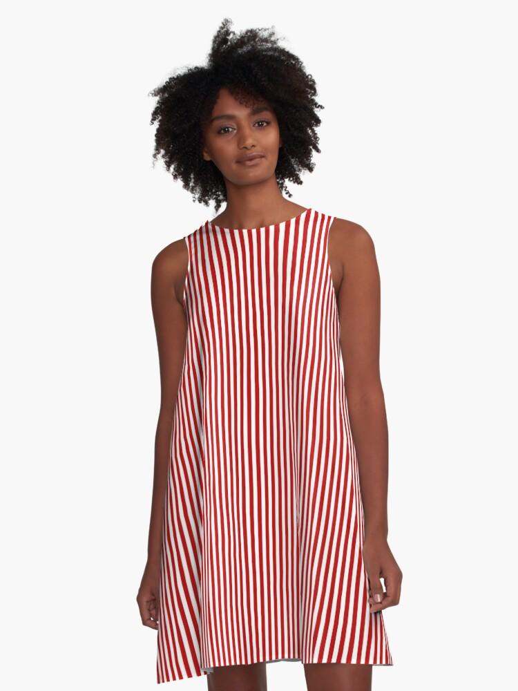 Vestido Acampanado Rayas Verticales Rojas Y Blancas Delgadas De Elegantcoastal