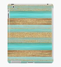Turquoise Brown Faux Gold Glitter Stripes Pattern iPad Case/Skin