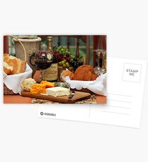 Wine Cheese and Bread Postcards