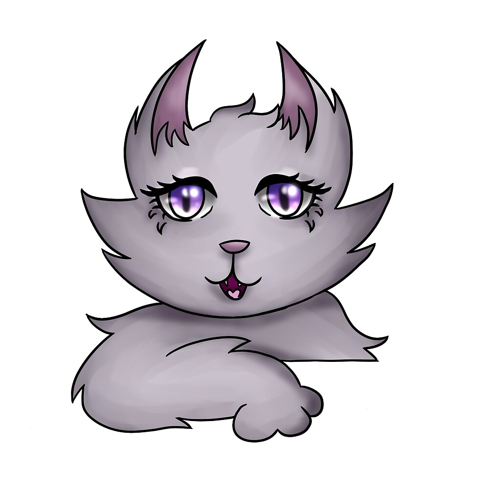 Purple to Pink Gradient Cat by aliojess