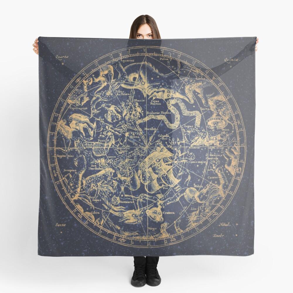 Zodiac Star Sign Constellation Map   Emboldened Yellow on Lazuli  Scarf
