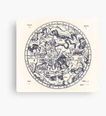 Zodiac Skies & Astrological Ties | Ink on Paper Canvas Print