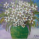 Daisies on Canvas by Angela Gannicott