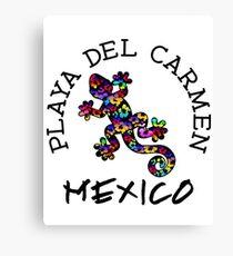 PLAYA DEL CARMEN MEXICO LIZARD GECKO TROPICAL HIBISCUS FLOWER COLORFUL RAINBOW TROPICAL BEACH Canvas Print
