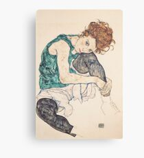 Seated woman with bent knee 1917 Egon Schiele Canvas Print