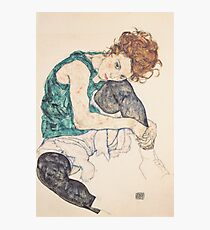 Seated woman with bent knee 1917 Egon Schiele Photographic Print