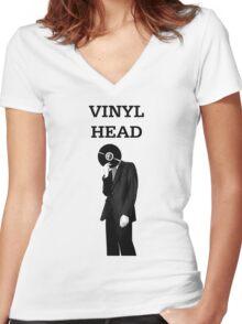 Vinyl Head Women's Fitted V-Neck T-Shirt