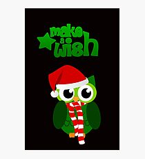 Make a wish christmas owl with a red hat design Photographic Print