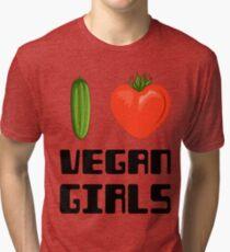 I love vegan girls - Vegan T-shirts Tri-blend T-Shirt