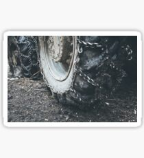 Muddy tractor wheels Sticker
