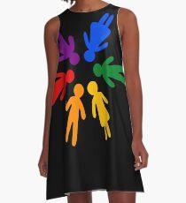 Rainbow People Circle (black background) A-Line Dress