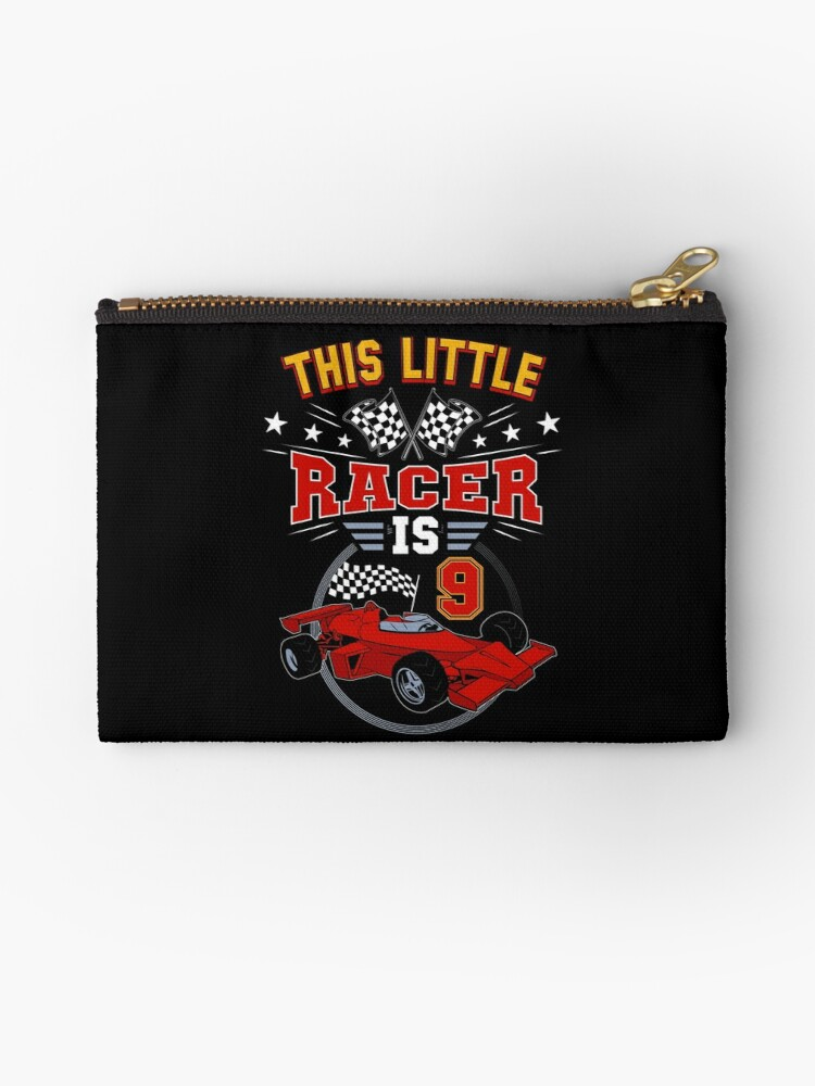 Funny 9th Birthday Race Car 9 Yr Old Boy Girl Racer Studio Pouches