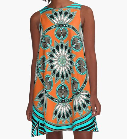 Thunder Beings Orange A-Line Dress