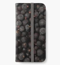 Frozen blackcurrant background closeup Food background Berry iPhone Wallet