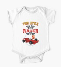 Funny 5th Birthday Race Car T-Shirt 5 Yr Old Boy Girl Racer Kids Clothes