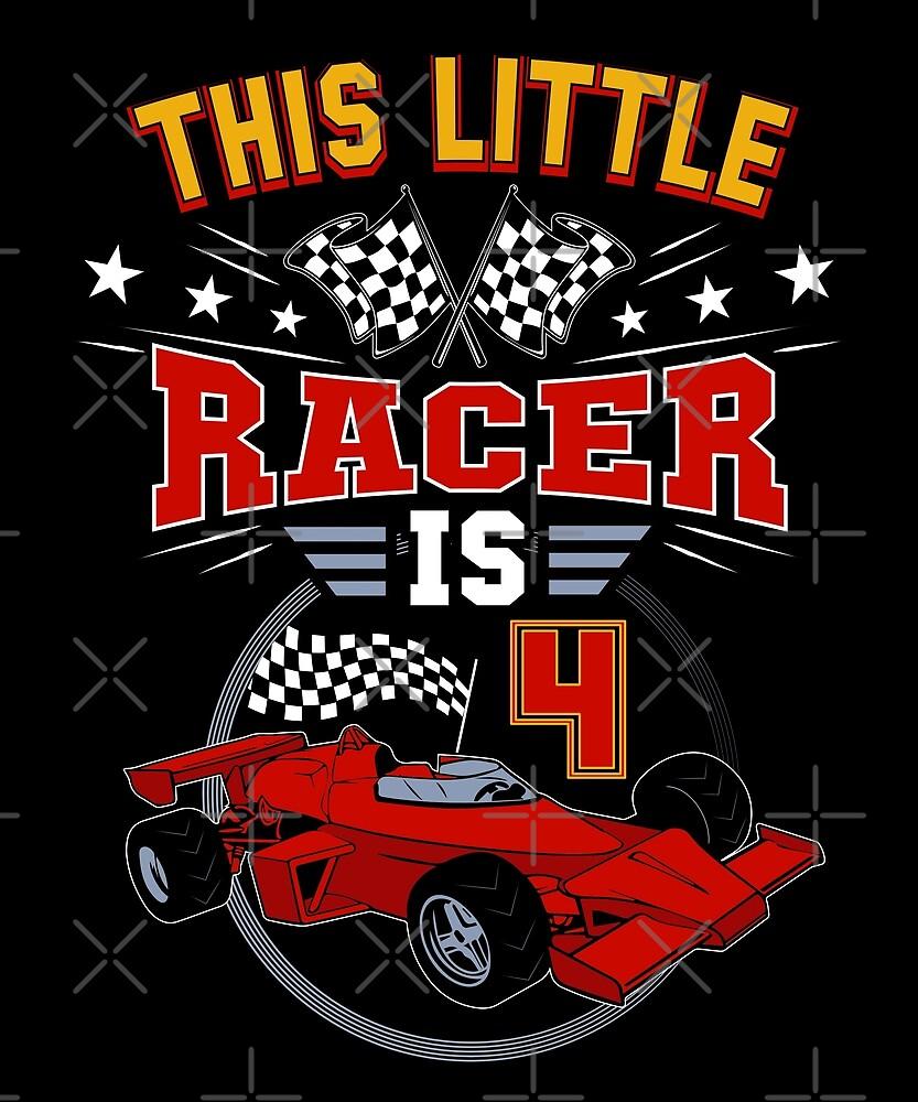 Funny 4th Birthday Race Car 4 Yr Old Boy Girl Racer by SpecialtyGifts