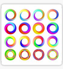 Set of Colorful Circle Icons Isolated on White Background Sticker