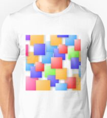 Square Blank Background. Set of Colorful Squares. Squares Pattern T-Shirt