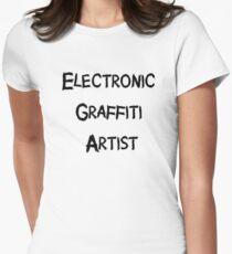 Electronic Graffiti Artist Black Womens Fitted T-Shirt