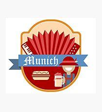 Munich Germany Retro Badge Photographic Print