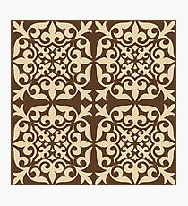 Moroccan Tile, Chocolate Brown and Beige Photographic Print