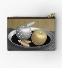 Gold and Silver Christmas Apples Studio Pouch
