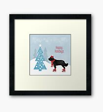 Newfie in the Snow Framed Print
