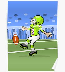 American football player kicking the ball Poster