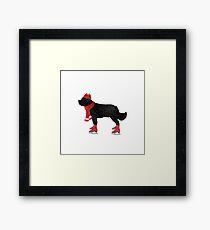 Newfoundland Dog Skating Framed Print