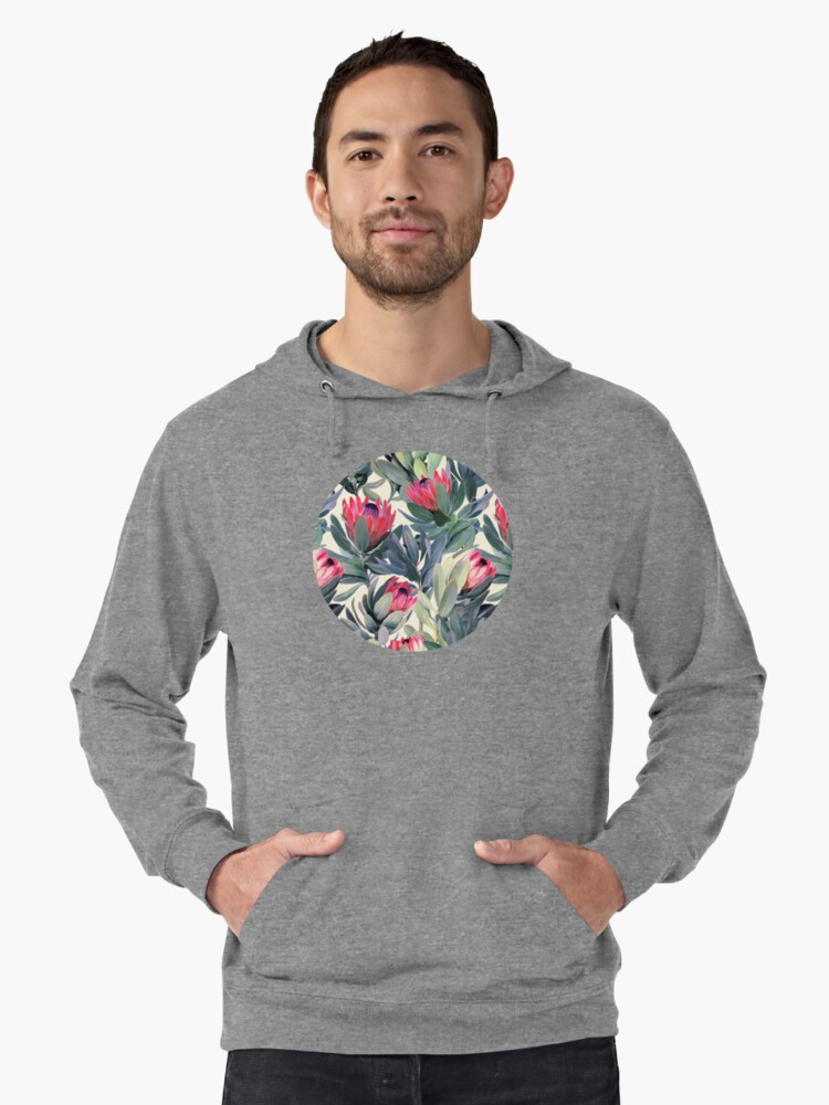 Painted Protea Pattern Lightweight Hoodie Front