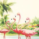 """A Christmas Hello From Florida"" Vintage Mid Century Holiday Greeting Card with Flamingos  by Framerkat"
