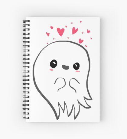 Cute ghost in love Spiral Notebook