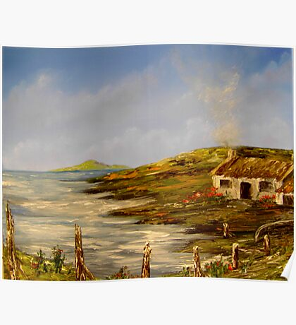 """Little Cottage in Ireland"" - oil paintng Poster"