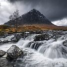 Buachaille Etive Mor. River Coupall in Spate. Glen Etive. Highland Scotland by PhotosEcosse
