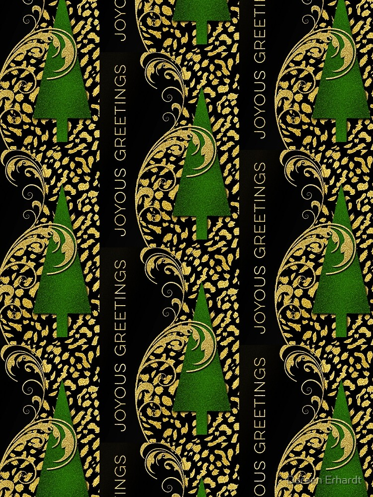 Faux Gold Leaf Cheetah Animal Print Christmas Tree by SalonOfArt
