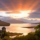 Eilean Donan Castle. Sunbeams. From Carr Brae. Dornie. Highland Scotland. by PhotosEcosse