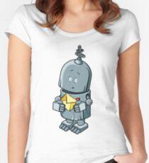 The cute robot cartoon  Women's Fitted Scoop T-Shirt