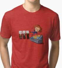 Nicole Haught: Lesbian Couch Vaulting Gold Tri-blend T-Shirt