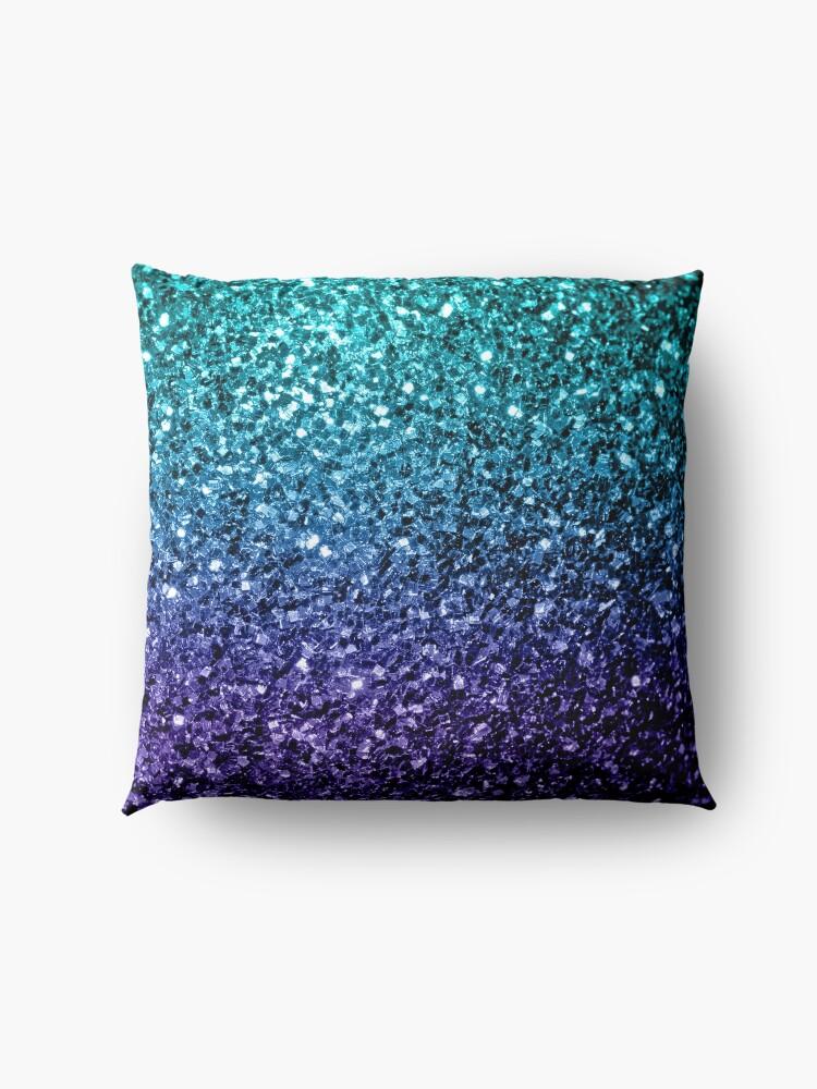 Alternative Ansicht von Wunderschönes Aqua Blue Ombre Glitter funkelt Bodenkissen