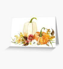 Watercolor Fall Autumn Floral Pumpkins n Leaves Greeting Card