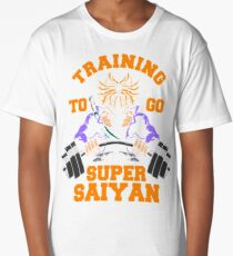 training to go super saiyan from future gym workout fit power energy Long T-Shirt