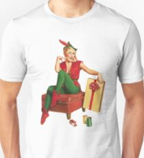 Pin up blond elf girl with a big Christmas gift T-Shirt
