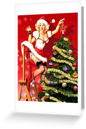 Pin up blond sexy girl is decorating Christmas tree by AmorOmniaVincit